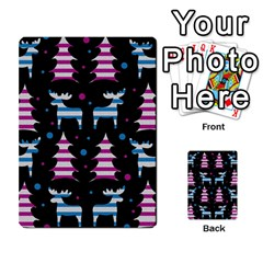 Blue And Pink Reindeer Pattern Multi Purpose Cards (rectangle)  by Valentinaart