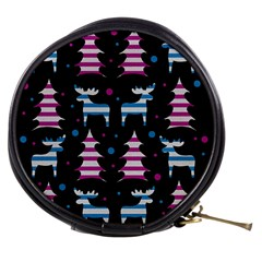 Blue And Pink Reindeer Pattern Mini Makeup Bags by Valentinaart