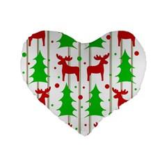 Reindeer Elegant Pattern Standard 16  Premium Heart Shape Cushions by Valentinaart
