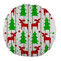 Reindeer Elegant Pattern Large 18  Premium Flano Round Cushions by Valentinaart