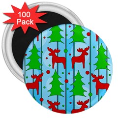 Xmas Reindeer Pattern   Blue 3  Magnets (100 Pack) by Valentinaart