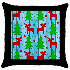 Xmas Reindeer Pattern   Blue Throw Pillow Case (black) by Valentinaart