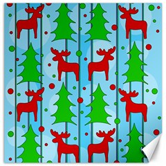 Xmas Reindeer Pattern   Blue Canvas 20  X 20   by Valentinaart