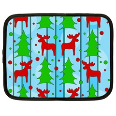 Xmas Reindeer Pattern   Blue Netbook Case (xl)  by Valentinaart