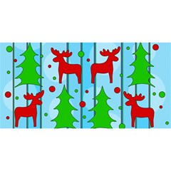 Xmas Reindeer Pattern   Blue You Are Invited 3d Greeting Card (8x4) by Valentinaart