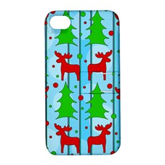 Xmas Reindeer Pattern   Blue Apple Iphone 4/4s Hardshell Case With Stand by Valentinaart