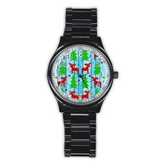 Xmas Reindeer Pattern   Blue Stainless Steel Round Watch by Valentinaart