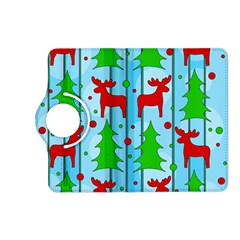 Xmas Reindeer Pattern   Blue Kindle Fire Hd (2013) Flip 360 Case by Valentinaart