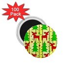 Xmas reindeer pattern - yellow 1.75  Magnets (100 pack)  Front