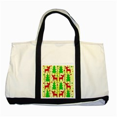 Xmas Reindeer Pattern   Yellow Two Tone Tote Bag by Valentinaart