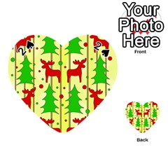 Xmas Reindeer Pattern   Yellow Playing Cards 54 (heart)  by Valentinaart