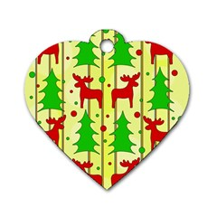 Xmas Reindeer Pattern   Yellow Dog Tag Heart (one Side) by Valentinaart