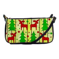 Xmas Reindeer Pattern   Yellow Shoulder Clutch Bags by Valentinaart