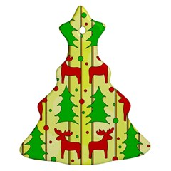 Xmas Reindeer Pattern   Yellow Christmas Tree Ornament (2 Sides)