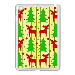 Xmas Reindeer Pattern   Yellow Apple Ipad Mini Case (white) by Valentinaart