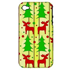 Xmas Reindeer Pattern   Yellow Apple Iphone 4/4s Hardshell Case (pc+silicone) by Valentinaart