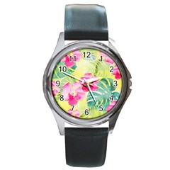 Tropical Dream Hibiscus Pattern Round Metal Watch by DanaeStudio