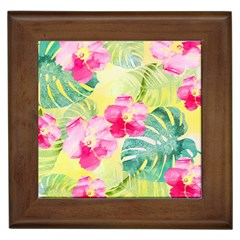 Tropical Dream Hibiscus Pattern Framed Tiles by DanaeStudio