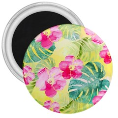 Tropical Dream Hibiscus Pattern 3  Magnets by DanaeStudio