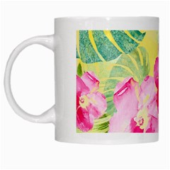 Tropical Dream Hibiscus Pattern White Mugs by DanaeStudio