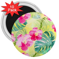 Tropical Dream Hibiscus Pattern 3  Magnets (10 Pack)  by DanaeStudio