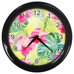 Tropical Dream Hibiscus Pattern Wall Clocks (black) by DanaeStudio