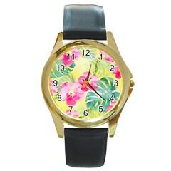 Tropical Dream Hibiscus Pattern Round Gold Metal Watch by DanaeStudio