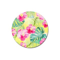 Tropical Dream Hibiscus Pattern Magnet 3  (round) by DanaeStudio