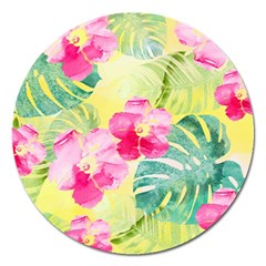 Tropical Dream Hibiscus Pattern Magnet 5  (round) by DanaeStudio