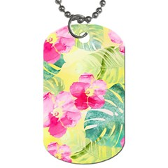 Tropical Dream Hibiscus Pattern Dog Tag (one Side) by DanaeStudio