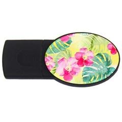 Tropical Dream Hibiscus Pattern Usb Flash Drive Oval (2 Gb)  by DanaeStudio