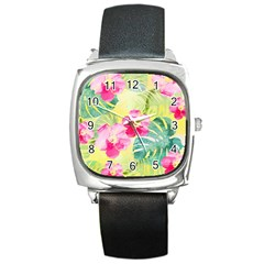 Tropical Dream Hibiscus Pattern Square Metal Watch by DanaeStudio