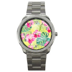 Tropical Dream Hibiscus Pattern Sport Metal Watch by DanaeStudio