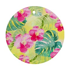Tropical Dream Hibiscus Pattern Round Ornament (two Sides)  by DanaeStudio