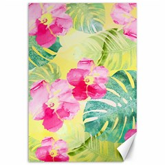 Tropical Dream Hibiscus Pattern Canvas 12  X 18   by DanaeStudio