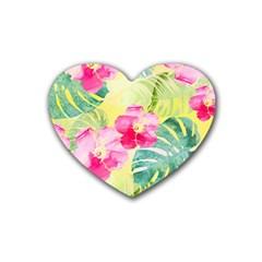 Tropical Dream Hibiscus Pattern Rubber Coaster (heart)  by DanaeStudio