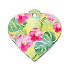 Tropical Dream Hibiscus Pattern Dog Tag Heart (one Side) by DanaeStudio