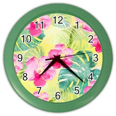 Tropical Dream Hibiscus Pattern Color Wall Clocks by DanaeStudio