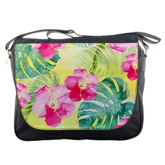 Tropical Dream Hibiscus Pattern Messenger Bags by DanaeStudio