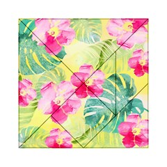 Tropical Dream Hibiscus Pattern Acrylic Tangram Puzzle (6  X 6 ) by DanaeStudio