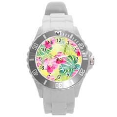 Tropical Dream Hibiscus Pattern Round Plastic Sport Watch (l) by DanaeStudio