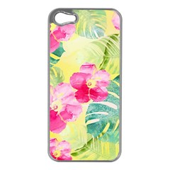 Tropical Dream Hibiscus Pattern Apple Iphone 5 Case (silver) by DanaeStudio