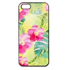 Tropical Dream Hibiscus Pattern Apple Iphone 5 Seamless Case (black) by DanaeStudio