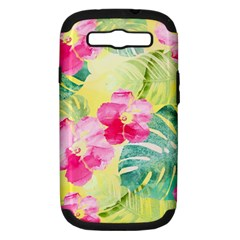 Tropical Dream Hibiscus Pattern Samsung Galaxy S Iii Hardshell Case (pc+silicone) by DanaeStudio