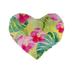 Tropical Dream Hibiscus Pattern Standard 16  Premium Heart Shape Cushions