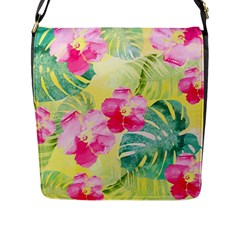 Tropical Dream Hibiscus Pattern Flap Messenger Bag (l)  by DanaeStudio