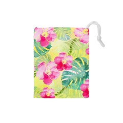 Tropical Dream Hibiscus Pattern Drawstring Pouches (small)  by DanaeStudio