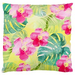 Tropical Dream Hibiscus Pattern Large Flano Cushion Case (two Sides) by DanaeStudio