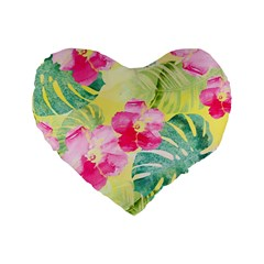 Tropical Dream Hibiscus Pattern Standard 16  Premium Flano Heart Shape Cushions by DanaeStudio