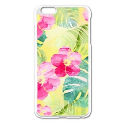 Tropical Dream Hibiscus Pattern Apple Iphone 6 Plus/6s Plus Enamel White Case by DanaeStudio